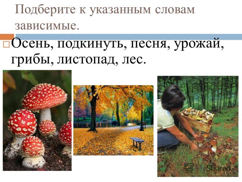 Подберите к указанным словам зависимые. Осень, подкинуть, песня, урожай, грибы, листопад, лес.