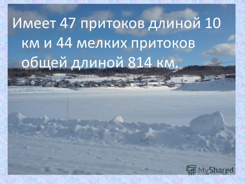 Имеет 47 притоков длиной 10 км и 44 мелких притоков общей длиной 814 км.