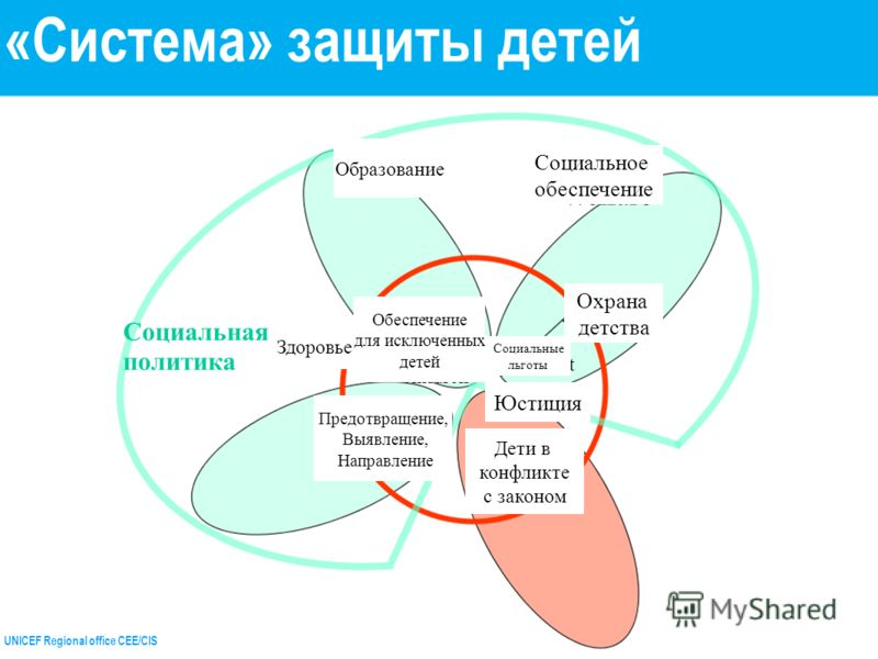 UNICEF Regional office CEE/CIS Educatio n Health Social Welfare Child Welfare Justice service s benefit s Provision for excluded children Prevention Identificati on Referral Children in conflict with the law Социальная политика «Система» защиты детей