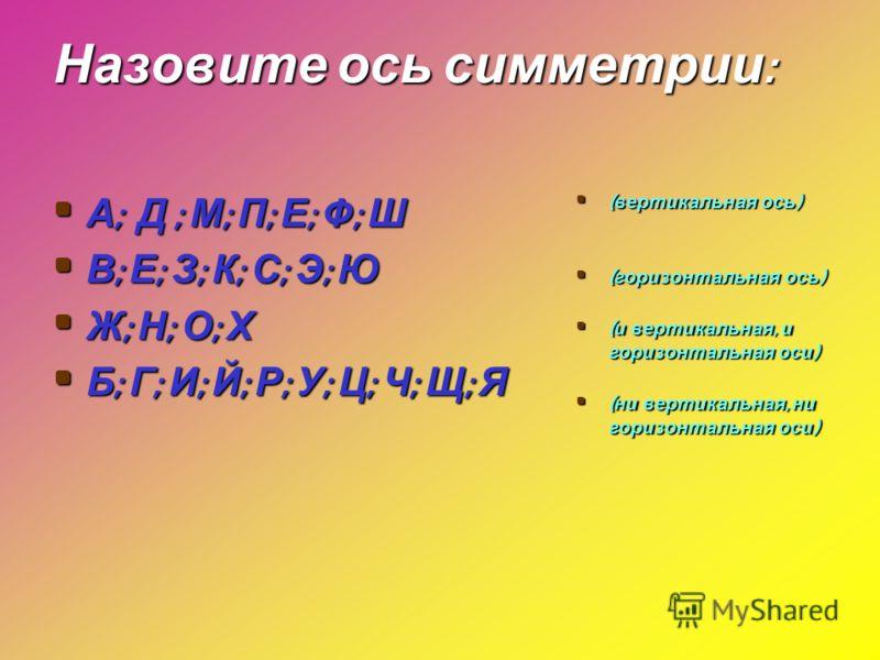 Назовите ось симметрии : А ; Д ; М ; П ; Е ; Ф ; Ш А ; Д ; М ; П ; Е ; Ф ; Ш В ; Е ; З ; К ; С ; Э ; Ю В ; Е ; З ; К ; С ; Э ; Ю Ж ; Н ; О ; Х Ж ; Н ; О ; Х Б ; Г ; И ; Й ; Р ; У ; Ц ; Ч ; Щ ; Я Б ; Г ; И ; Й ; Р ; У ; Ц ; Ч ; Щ ; Я ( вертикальная ос