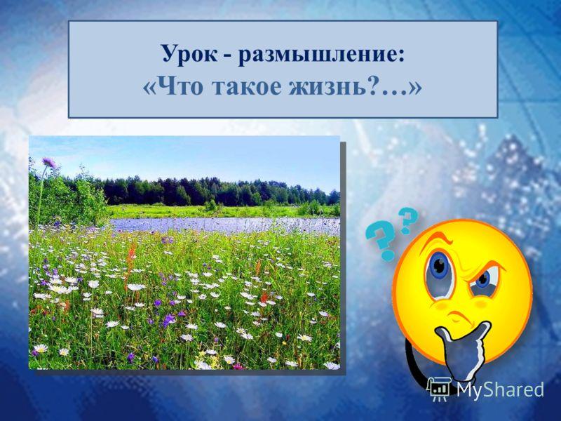 Урок - размышление: «Что такое жизнь?…»