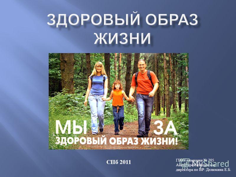 СПб 2011 ГБОУ гимназия 205 Автор презентации зам. директора по ВР: Делюкина Е.Б.