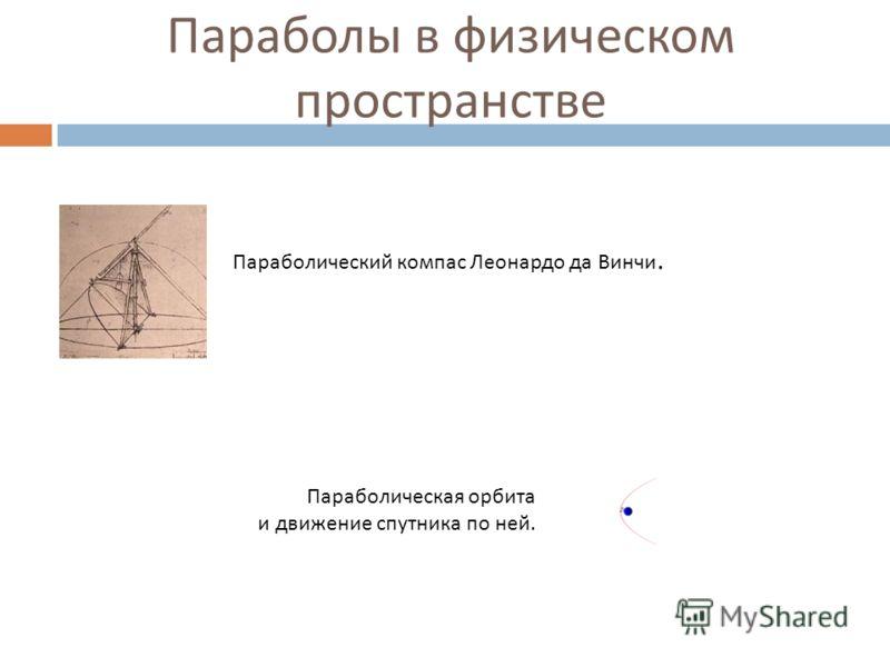 Параболы в физическом пространстве Параболический компас Леонардо да Винчи. Параболическая орбита и движение спутника по ней.