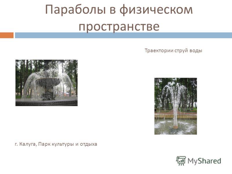 г. Калуга, Парк культуры и отдыха Параболы в физическом пространстве Траектории струй воды