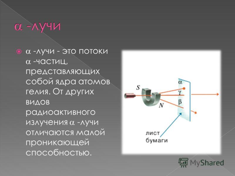 -лучи - это потоки -частиц, представляющих собой ядра атомов гелия. От других видов радиоактивного излучения -лучи отличаются малой проникающей способностью.