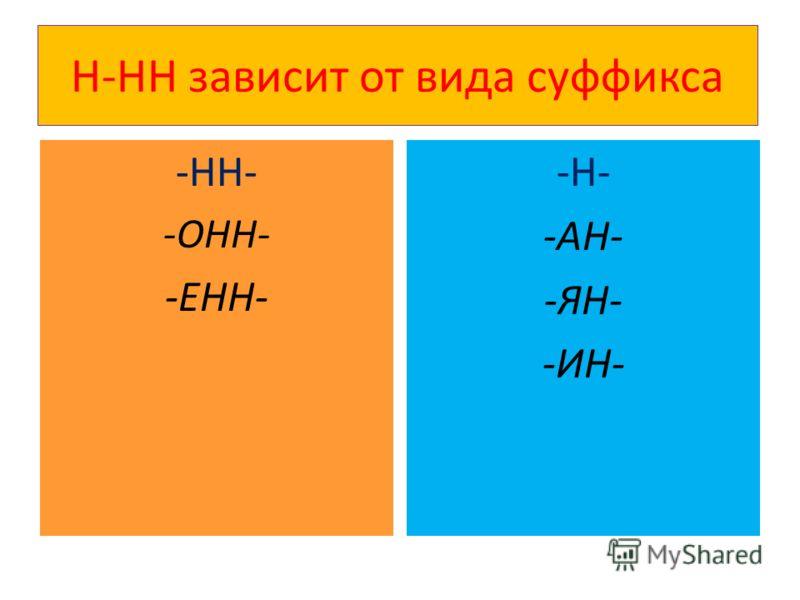 Н-НН зависит от вида суффикса -НН- -ОНН- -ЕНН- -Н- -АН- -ЯН- -ИН-