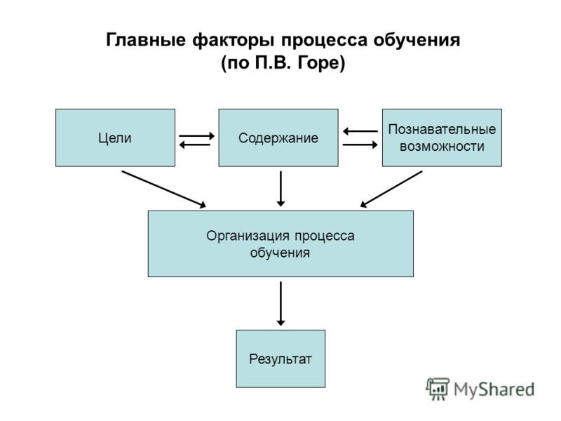 Главные факторы процесса обучения (по П.В. Горе) Организация процесса обучения Познавательные возможности СодержаниеЦели Результат
