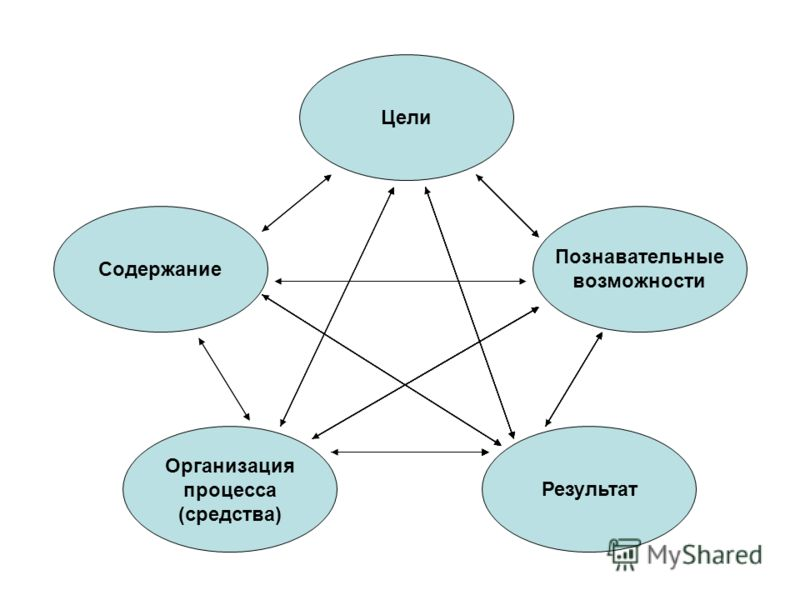 Цели Содержание Познавательные возможности Организация процесса (средства) Результат