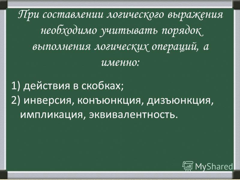 При составлении логического выражения необходимо учитывать порядок выполнения логических операций, а именно: 1) действия в скобках; 2) инверсия, конъюнкция, дизъюнкция, импликация, эквивалентность.