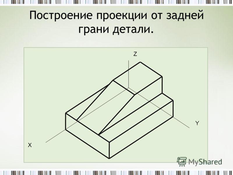 Построение проекции от задней грани детали. Z Y Х
