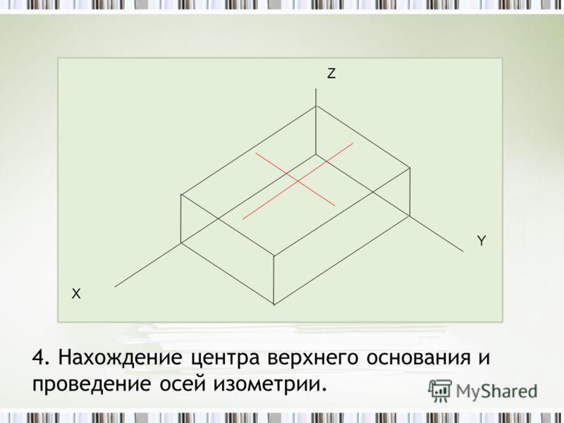 4. Нахождение центра верхнего основания и проведение осей изометрии. Z Y Х