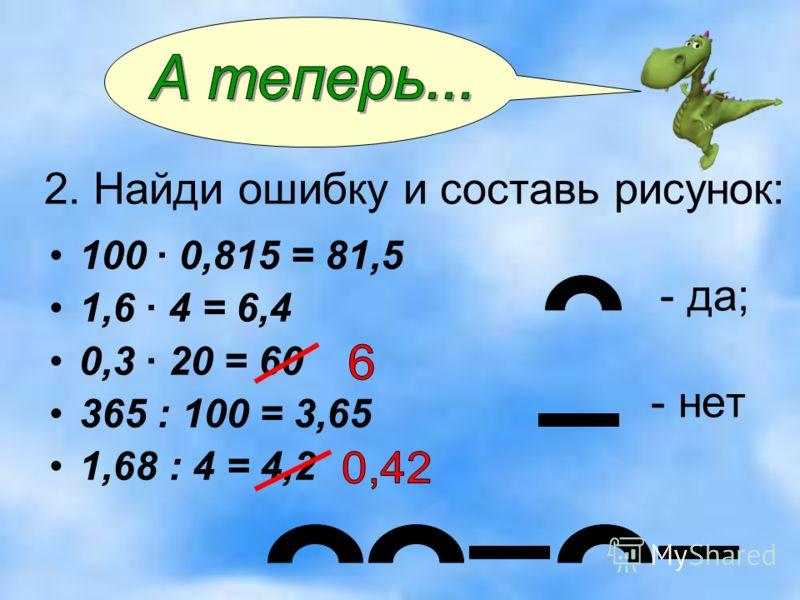 2. Найди ошибку и составь рисунок: - да; - нет 100 · 0,815 = 81,5 1,6 · 4 = 6,4 0,3 · 20 = 60 365 : 100 = 3,65 1,68 : 4 = 4,2