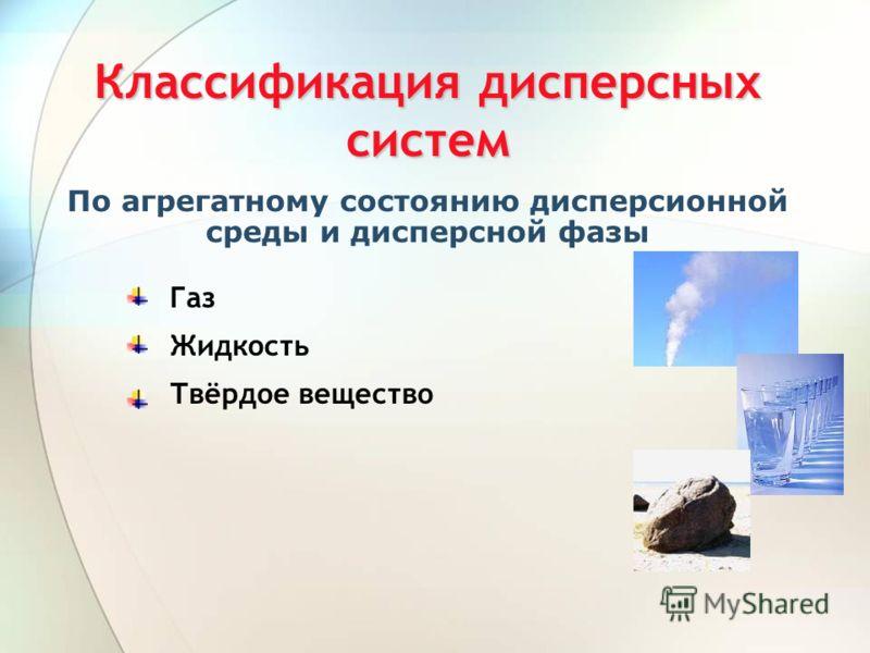 Классификация дисперсных систем По агрегатному состоянию дисперсионной среды и дисперсной фазы Газ Жидкость Твёрдое вещество
