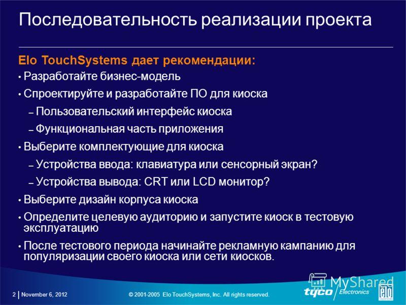 November 6, 2012 Основные принципы успеха проектов по развертыванию сети сенсорных киосков
