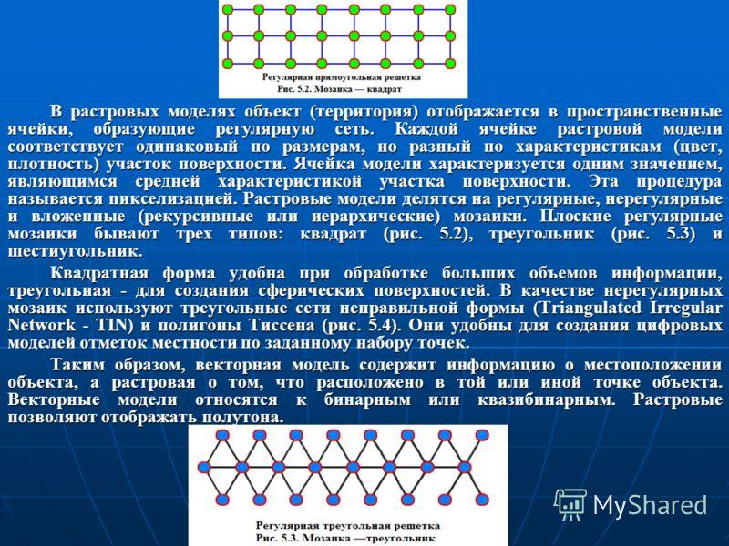 В растровых моделях объект (территория) отображается в пространственные ячейки, образующие регулярную сеть. Каждой ячейке растровой модели соответствует одинаковый по размерам, но разный по характеристикам (цвет, плотность) участок поверхности. Ячейк