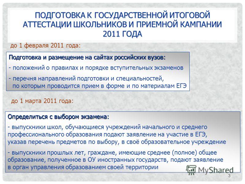ПОДГОТОВКА К ГОСУДАРСТВЕННОЙ ИТОГОВОЙ АТТЕСТАЦИИ ШКОЛЬНИКОВ И ПРИЕМНОЙ КАМПАНИИ 2011 ГОДА 3 до 1 февраля 2011 года: Подготовка и размещение на сайтах российских вузов: - положений о правилах и порядке вступительных экзаменов - перечня направлений под