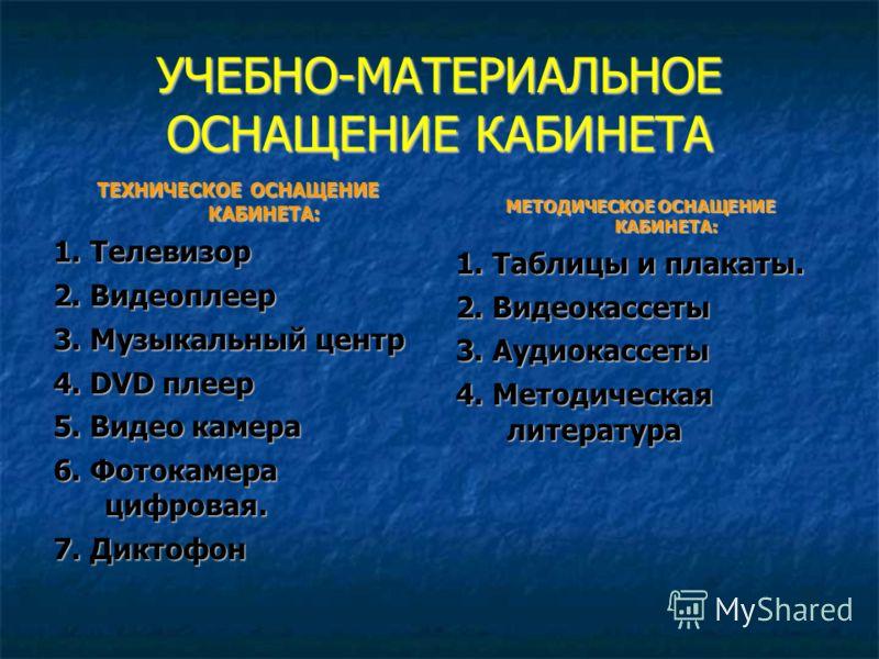 УЧЕБНО-МАТЕРИАЛЬНОЕ ОСНАЩЕНИЕ КАБИНЕТА ТЕХНИЧЕСКОЕ ОСНАЩЕНИЕ КАБИНЕТА: 1. Телевизор 2. Видеоплеер 3. Музыкальный центр 4. DVD плеер 5. Видео камера 6. Фотокамера цифровая. 7. Диктофон МЕТОДИЧЕСКОЕ ОСНАЩЕНИЕ КАБИНЕТА: 1. Таблицы и плакаты. 2. Видеокас