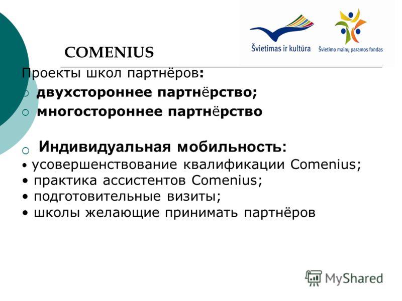 COMENIUS Проекты школ партнёров: двухстороннее партнёрство; многостороннее партнёрство Индивидуальная мобильность: усовершенствование квалификации Comenius; практика ассистентов Comenius; подготовительные визиты; школы желающие принимать партнёров