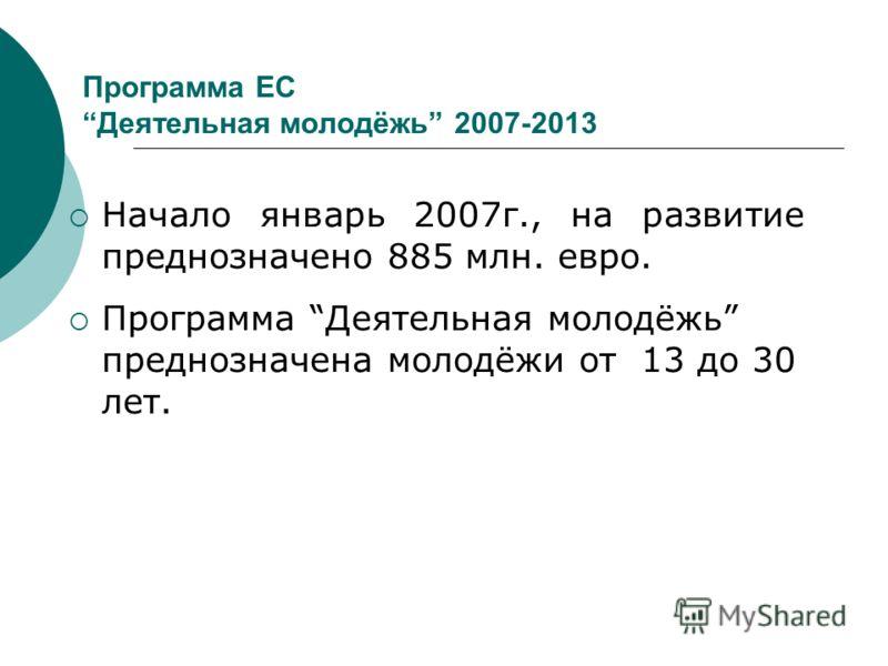 Программа ЕСДеятельная молодёжь 2007-2013 Начало январь 2007г., на развитие преднозначено 885 млн. евро. Программа Деятельная молодёжь преднозначена молодёжи от 13 до 30 лет.
