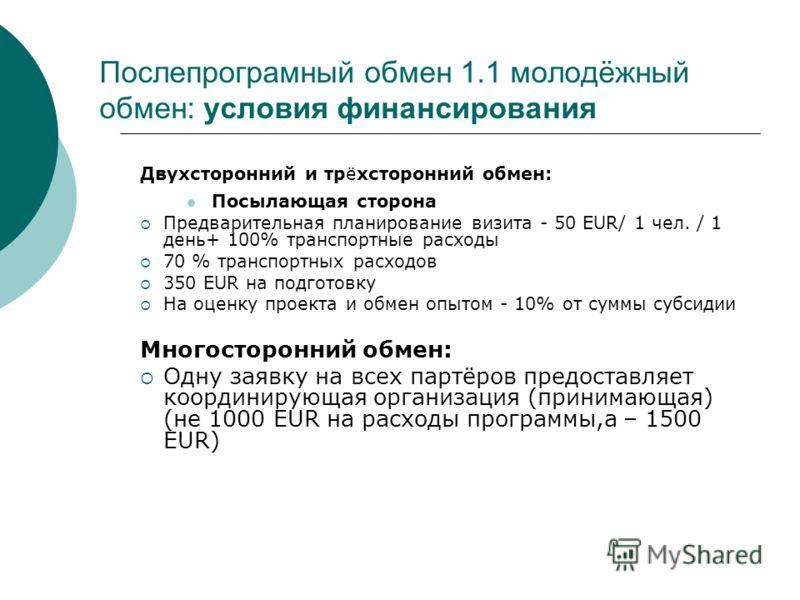 Послепрограмный обмен 1.1 молодёжный обмен: условия финансирования Двухсторонний и трёхсторонний обмен: Посылающая сторона Предварительная планирование визита - 50 EUR/ 1 чел. / 1 день+ 100% транспортные расходы 70 % транспортных расходов 350 EUR на