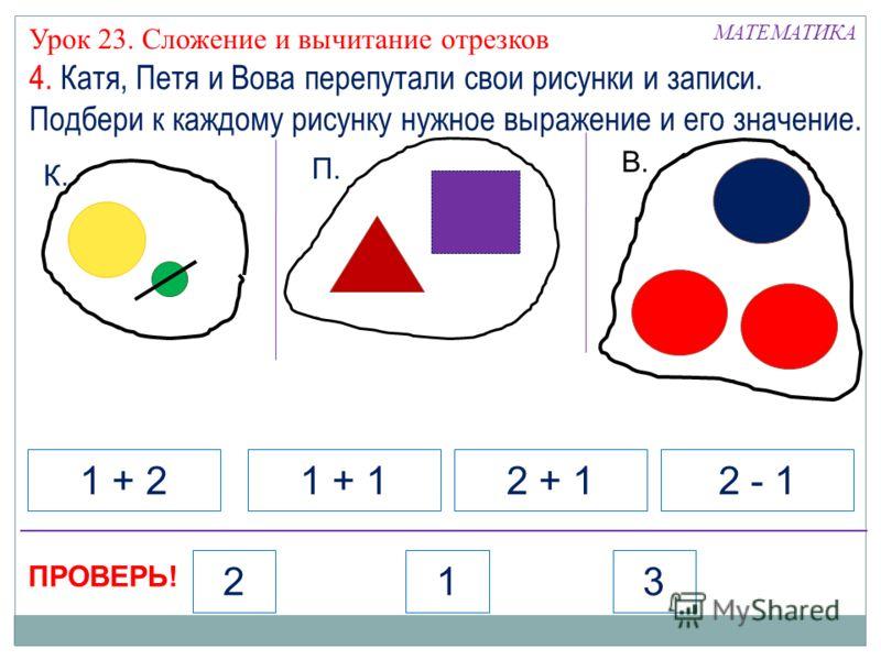 К. П. В. 1 + 21 + 12 + 12 - 1 МАТЕМАТИКА Урок 23. Сложение и вычитание отрезков 4. Катя, Петя и Вова перепутали свои рисунки и записи. Подбери к каждому рисунку нужное выражение и его значение. ПРОВЕРЬ! 213