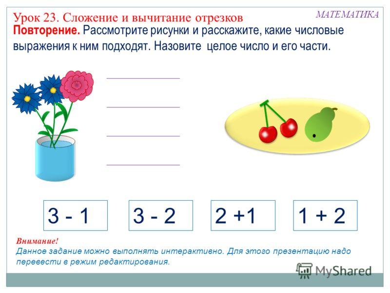 3 - 13 - 22 +11 + 2 Внимание! Данное задание можно выполнять интерактивно. Для этого презентацию надо перевести в режим редактирования. МАТЕМАТИКА Повторение. Рассмотрите рисунки и расскажите, какие числовые выражения к ним подходят. Назовите целое ч