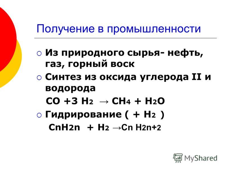 Получение в промышленности Из природного сырья- нефть, газ, горный воск Синтез из оксида углерода II и водорода СО +3 Н 2 СН 4 + Н 2 О Гидрирование ( + Н 2 ) СnH 2 n + H 2 Cn H 2 n+ 2