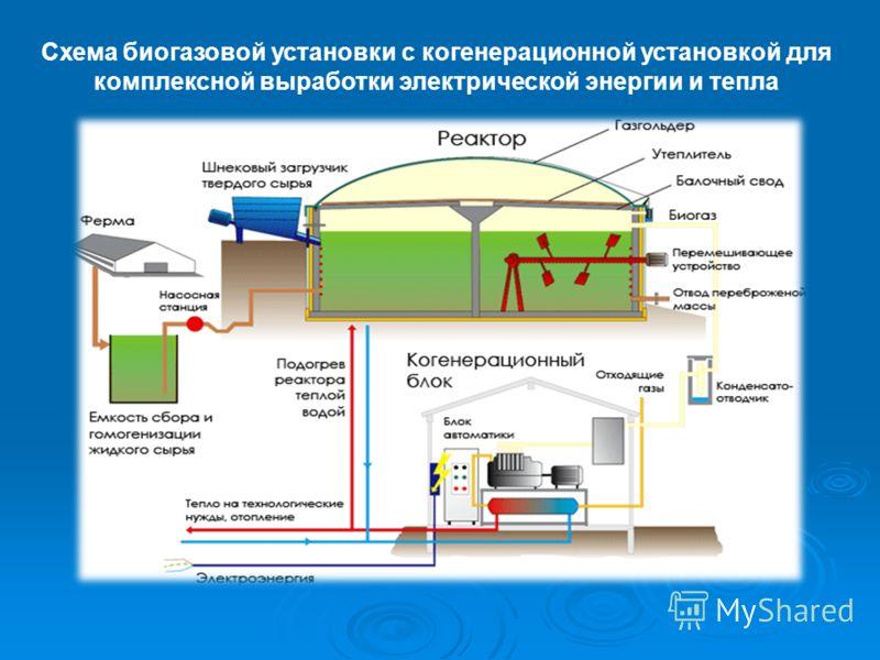 Схема биогазовой установки с когенерационной установкой для комплексной выработки электрической энергии и тепла