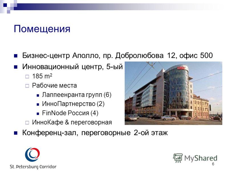 6 Помещения Бизнес-центр Аполло, пр. Добролюбова 12, офис 500 Инновационный центр, 5-ый этаж 185 m 2 Рабочие места Лаппеенранта групп (6) ИнноПартнерство (2) FinNode Россия (4) ИнноКафе & переговорная Конференц-зал, переговорные 2-ой этаж