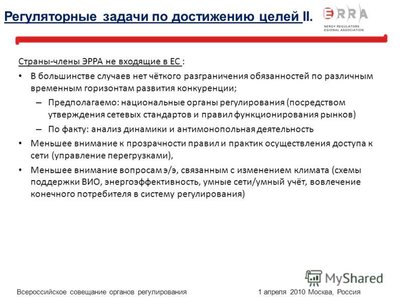 24 1 April, 2010, Moscow, Russia Russian Annual Meeting of Energy Regulators Страны-члены ЭРРА не входящие в ЕС : В большинстве случаев нет чёткого разграничения обязанностей по различным временным горизонтам развития конкуренции; – Предполагаемо: на