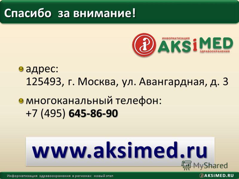 AKSiMED.RU Информатизация здравоохранения в регионах: новый этап Спасибо за внимание! адрес: 125493, г. Москва, ул. Авангардная, д. 3 645-86-90 многоканальный телефон: +7 (495) 645-86-90 www.aksimed.ruwww.aksimed.ru