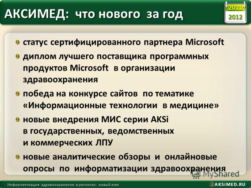 AKSiMED.RU Информатизация здравоохранения в регионах: новый этап АКСИМЕД: что нового за год статус сертифицированного партнера Microsoft диплом лучшего поставщика программных продуктов Microsoft в организации здравоохранения победа на конкурсе сайтов