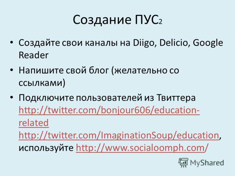 Создание ПУС 2 Создайте свои каналы на Diigo, Delicio, Google Reader Напишите свой блог (желательно со ссылками) Подключите пользователей из Твиттера http://twitter.com/bonjour606/education- related http://twitter.com/ImaginationSoup/education, испол