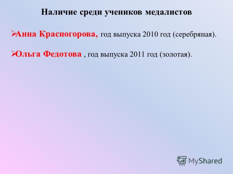 Наличие среди учеников медалистов Анна Красногорова, год выпуска 2010 год (серебряная). Ольга Федотова, год выпуска 2011 год (золотая).