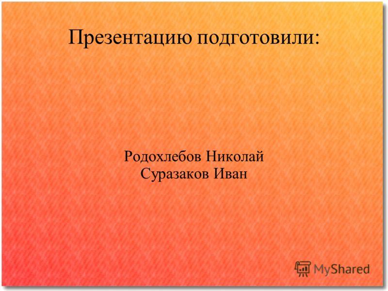 Презентацию подготовили: Родохлебов Николай Суразаков Иван