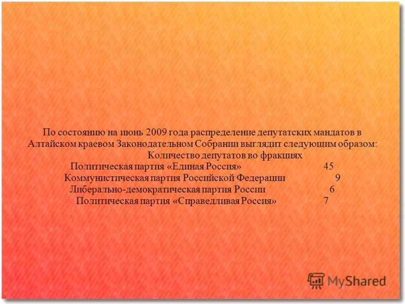По состоянию на июнь 2009 года распределение депутатских мандатов в Алтайском краевом Законодательном Собрании выглядит следующим образом: Количество депутатов во фракциях Политическая партия «Единая Россия» 45 Коммунистическая партия Российской Феде