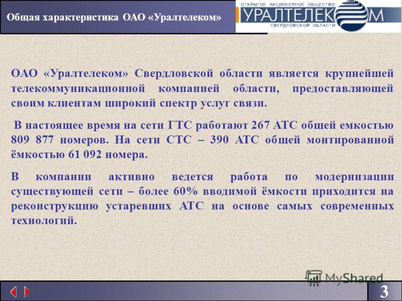 3 ОАО «Уралтелеком» Свердловской области является крупнейшей телекоммуникационной компанией области, предоставляющей своим клиентам широкий спектр услуг связи. В настоящее время на сети ГТС работают 267 АТС общей емкостью 809 877 номеров. На сети СТС