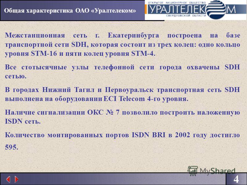 4 Межстанционная сеть г. Екатеринбурга построена на базе транспортной сети SDH, которая состоит из трех колец: одно кольцо уровня STM-16 и пяти колец уровня STM-4. Все стотысячные узлы телефонной сети города охвачены SDH сетью. В городах Нижний Тагил
