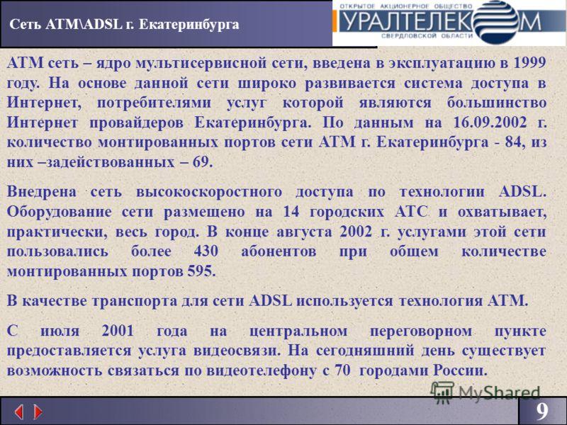 9 АТМ сеть – ядро мультисервисной сети, введена в эксплуатацию в 1999 году. На основе данной сети широко развивается система доступа в Интернет, потребителями услуг которой являются большинство Интернет провайдеров Екатеринбурга. По данным на 16.09.2