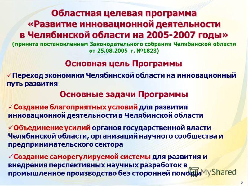 Создание благоприятных условий для развития инновационной деятельности в Челябинской области Объединение усилий органов государственной власти Челябинской области, организаций научного сообщества и предпринимательского сектора Создание саморегулируем