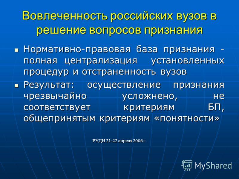 Вовлеченность российских вузов в решение вопросов признания Нормативно-правовая база признания - полная централизация установленных процедур и отстраненность вузов Нормативно-правовая база признания - полная централизация установленных процедур и отс