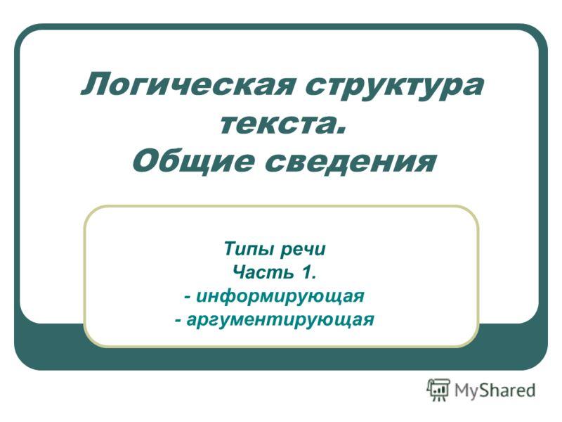 Логическая структура текста. Общие сведения Типы речи Часть 1. - информирующая - аргументирующая