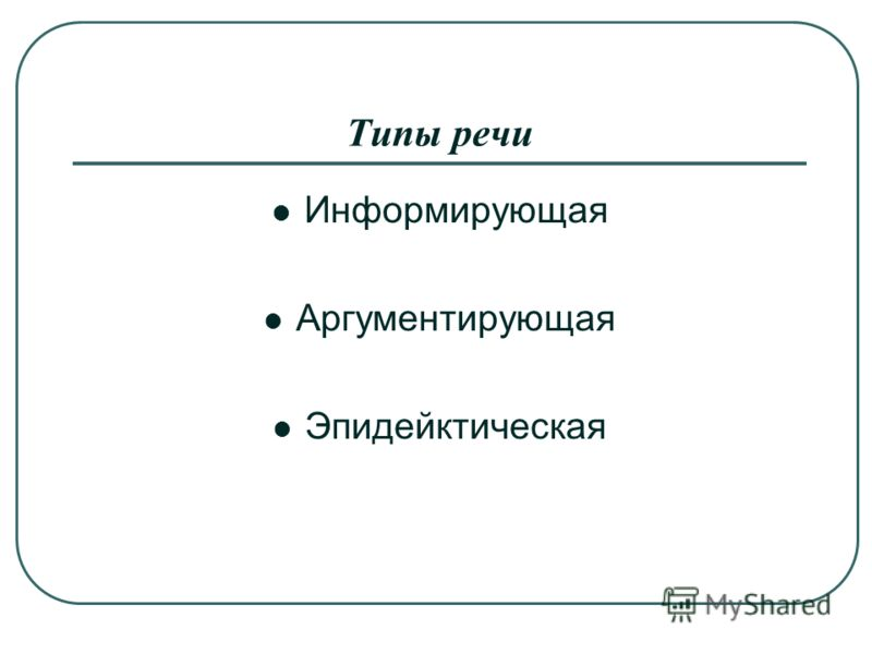 Типы речи Информирующая Аргументирующая Эпидейктическая