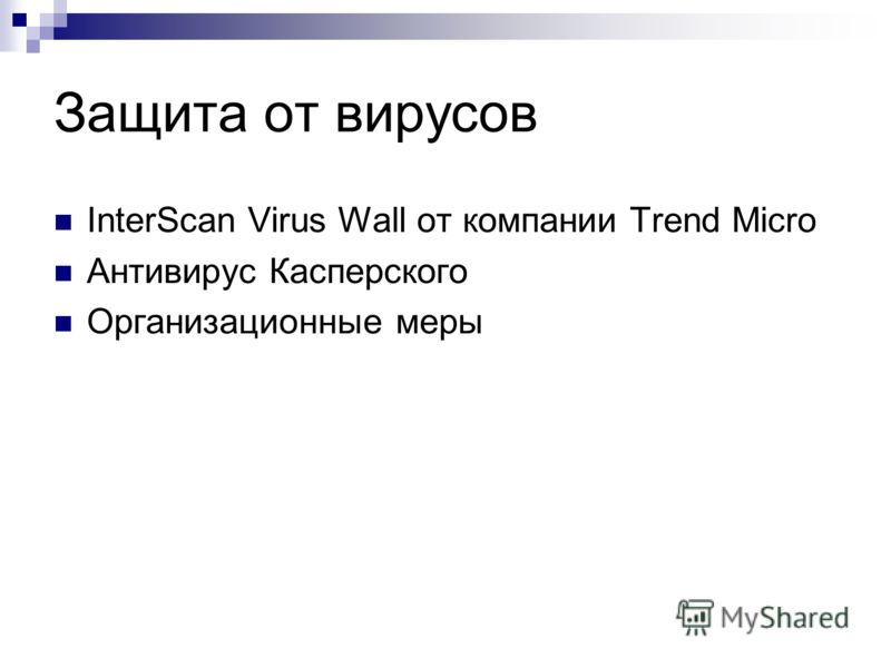 Защита от вирусов InterScan Virus Wall от компании Trend Micro Антивирус Касперского Организационные меры