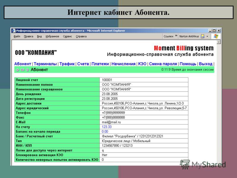 Интернет кабинет Абонента.