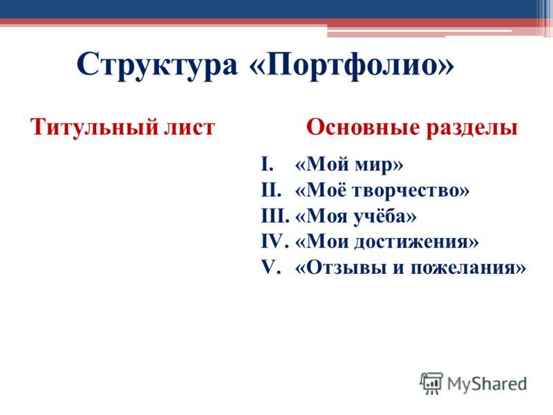 Структура «Портфолио» Титульный листОсновные разделы I.«Мой мир» II.«Моё творчество» III.«Моя учёба» IV.«Мои достижения» V.«Отзывы и пожелания»