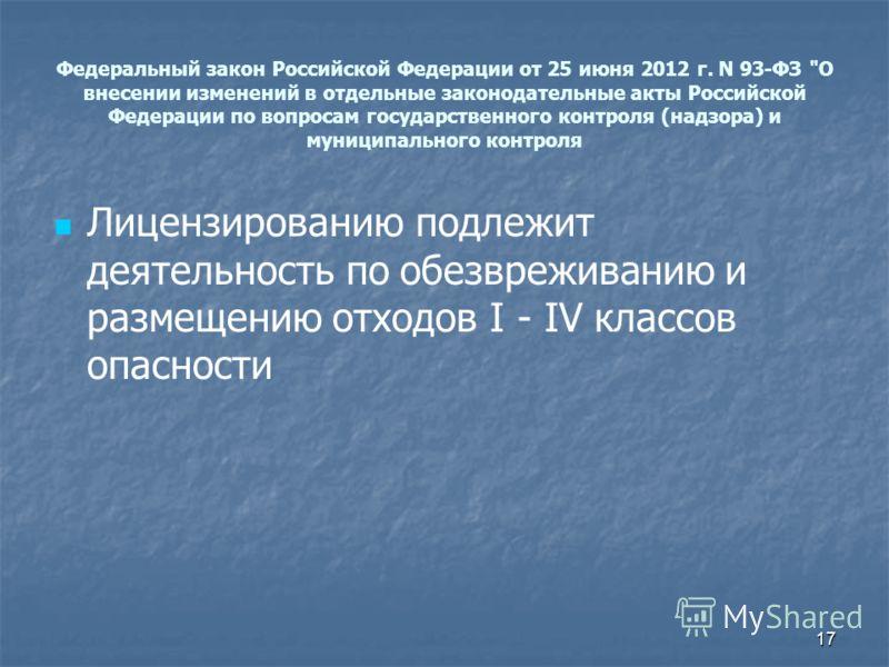 Федеральный закон Российской Федерации от 25 июня 2012 г. N 93-ФЗ