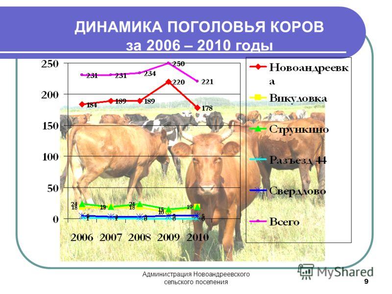 Администрация Новоандреевского сельского поселения 9 ДИНАМИКА ПОГОЛОВЬЯ КОРОВ за 2006 – 2010 годы