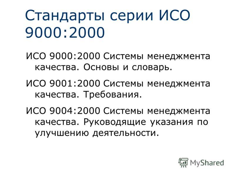 Стандарты серии ИСО 9000:2000 ИСО 9000:2000 Системы менеджмента качества. Основы и словарь. ИСО 9001:2000 Системы менеджмента качества. Требования. ИСО 9004:2000 Системы менеджмента качества. Руководящие указания по улучшению деятельности.