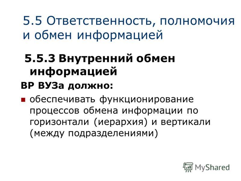 5.5 Ответственность, полномочия и обмен информацией 5.5.3 Внутренний обмен информацией ВР ВУЗа должно: обеспечивать функционирование процессов обмена информации по горизонтали (иерархия) и вертикали (между подразделениями)